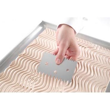 Skrobka cukiernicza prostokątna grzebień ze stali nierdzewnej