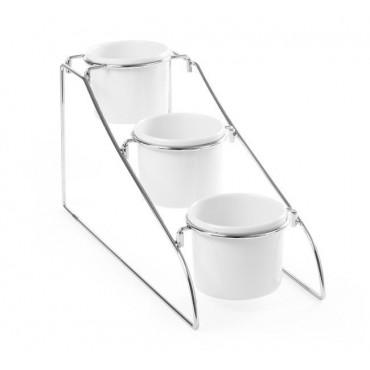 Stojak bufetowy z pojemnikami 1l z melaminy - zestaw stojak + 3x1L -