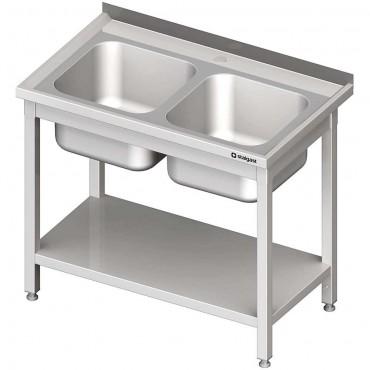Stół stalowy z półką ze zlewem 2-komorowym, skręcany, 1000x600x850 mm