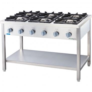 Kuchnia gazowa, 6-palnikowa, 700 mm, 36.5 kW, G20