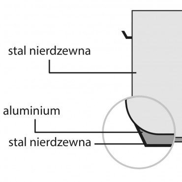 Garnek średni bez pokrywki, stalowy, ø 360 mm, V 22.4 l