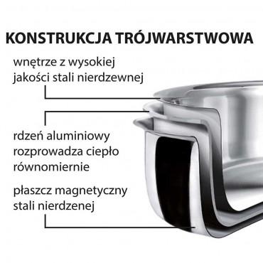 Rondel stalowy do sosów, trójwarstwowy, teflonowany, ø 220 mm