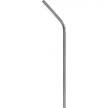 Słomka do napojów, zakrzywiona, stalowa, srebrna, 50 sztuk, L 215 mm
