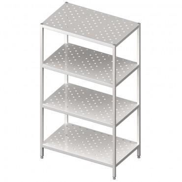 Regał stalowy, magazynowy, skręcany, półki perforowane, 1000x500x1800