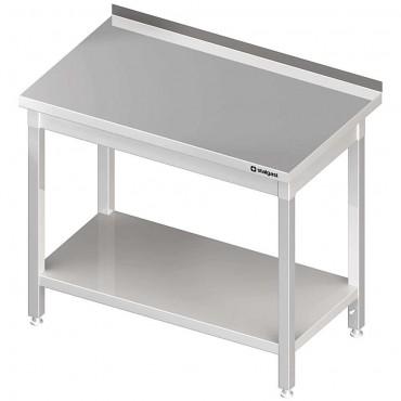 Stół stalowy z półką, przyścienny, skręcany, 800x600x850 mm