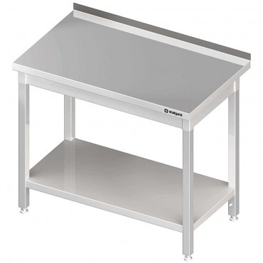 Stół stalowy z półką, przyścienny, skręcany, 1200x700x850 mm