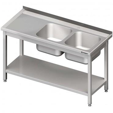 Stół stalowy z półką ze zlewem 2-komorowym prawym, skręcany, 1400x600x850 mm