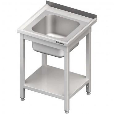 Stół stalowy z półką ze zlewem 1-komorowym, spawany, 600x600x850 mm