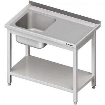 Stół stalowy z półką ze zlewem 1-komorowym lewym, sprawany, 1200x600x850 mm