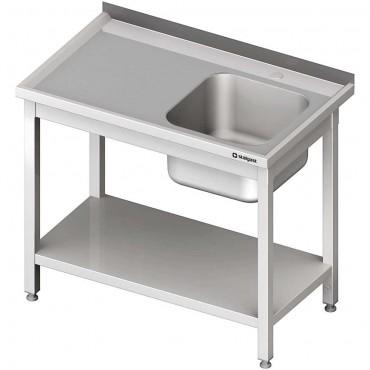 Stół stalowy z półką ze zlewem 1-komorowym prawym, spawany, 1000x600x850 mm