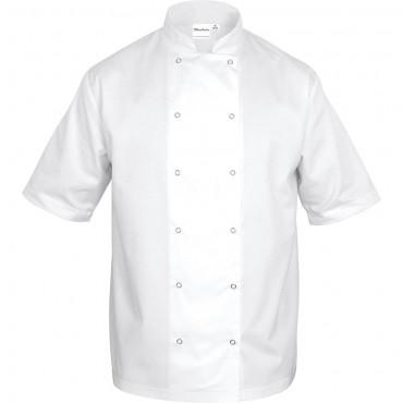 Bluza kucharska, unisex, krótki rękaw, biała, rozmiar L