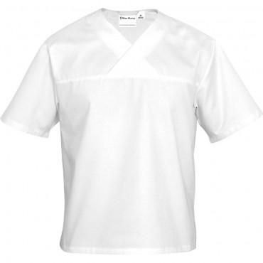 Bluza kucharska, unisex, w serek, krótki rękaw, biała, rozmiar L