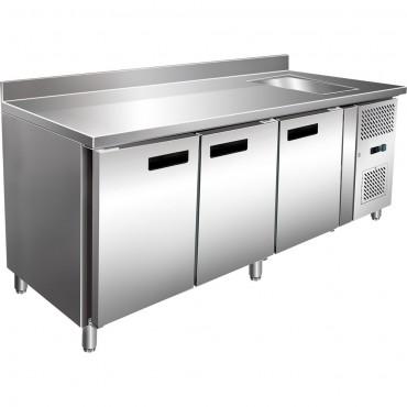 Stół chłodniczy 3 drzwiowy ze zlewem i agregatem po prawej stronie