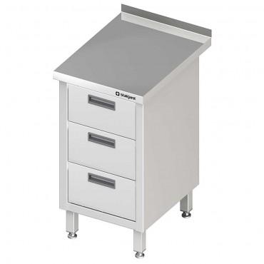 Stół przyścienny z blokiem trzech szuflad 450x600x850 mm