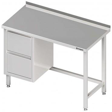 Stół przyścienny z blokiem dwóch szuflad (L),bez półki 1500x600x850 mm