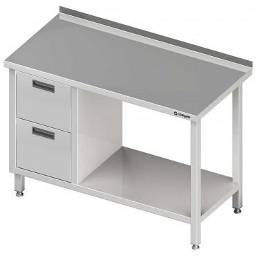Stół przyścienny z blokiem dwóch szuflad (L),i półką 1600x600x850 mm