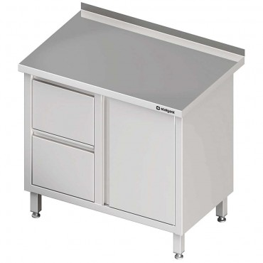 Stół przyścienny z blokiem dwóch szuflad (L),drzwi skrzydłowe 800x600x850 mm