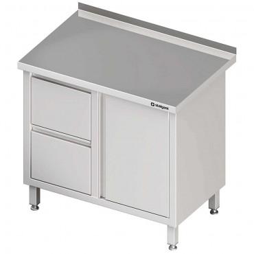 Stół przyścienny z blokiem dwóch szuflad (L),drzwi skrzydłowe 900x600x850 mm