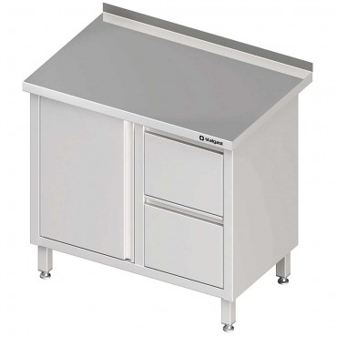 Stół przyścienny z blokiem dwóch szuflad (P),drzwi skrzydłowe 800x600x850 mm
