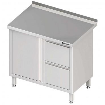 Stół przyścienny z blokiem dwóch szuflad (P),drzwi skrzydłowe 900x600x850 mm