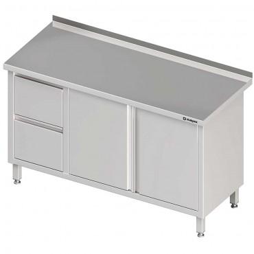 Stół przyścienny z blokiem dwóch szuflad (L),drzwi skrzydłowe 1300x600x850 mm