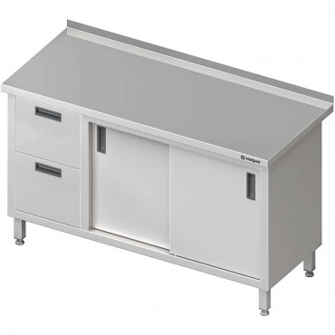 Stół przyścienny z blokiem dwóch szuflad (L),drzwi suwane 1400x600x850 mm