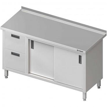 Stół przyścienny z blokiem dwóch szuflad (L),drzwi suwane 1600x600x850 mm