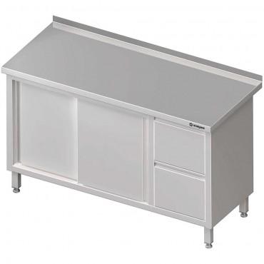 Stół przyścienny z blokiem dwóch szuflad (P),drzwi suwane 1300x600x850 mm