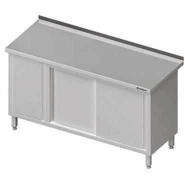 Stół przyścienny z szafką (L),drzwi suwane 1600x700x850 mm
