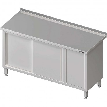 Stół przyścienny z szafką (P),drzwi suwane 1300x600x850 mm