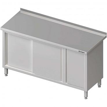 Stół przyścienny z szafką (P),drzwi suwane 1400x600x850 mm