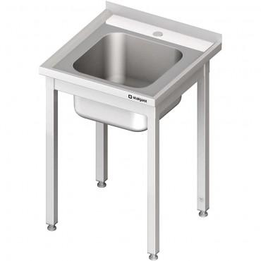 Stół ze zlewem 1-kom.,bez półki 600x600x850 mm spawany