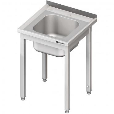 Stół ze zlewem i otworem pod rozdrabniacz, bez półki 700x700x850 mm spawany