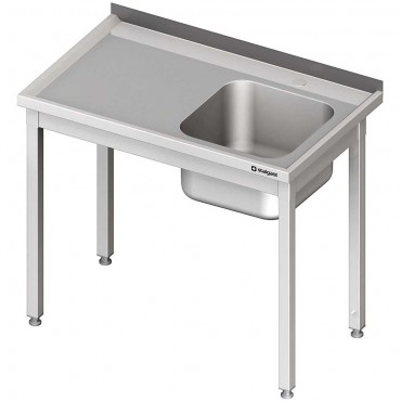 Stół ze zlewem 1-kom.(P),bez półki 900x600x850 mm skręcany