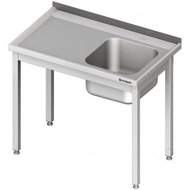 Stół ze zlewem 1-kom.(P),bez półki 1300x600x850 mm spawany