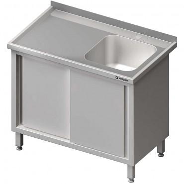 Stół ze zlewem 1-kom.(P),drzwi suwane 800x600x850 mm