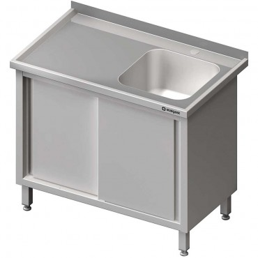 Stół ze zlewem 1-kom.(P),drzwi suwane 1300x600x850 mm