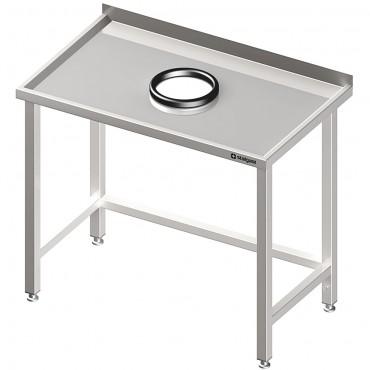 Stół przyścienny bez półki 1300x600x850 mm, z otworem na odpadki