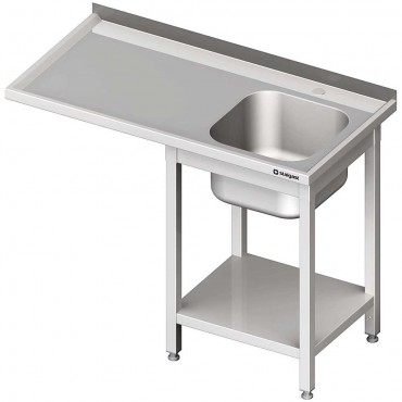 Stół ze zlewem 1-kom.(P) i miejscem na lodówkę lub zmywarkę 1300x600x900 mm spawany