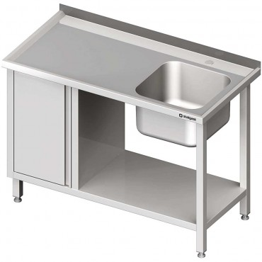 Stół ze zlew 1-kom.(P), z szafką i półką 1100x600x850 mm