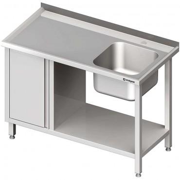 Stół ze zlew 1-kom.(P), z szafką i półką 1300x600x850 mm