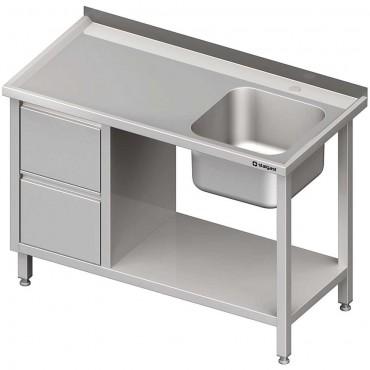 Stół ze zlewem 1-kom.(P), z blokiem dwóch szuflad i półką 1100x600x850 mm