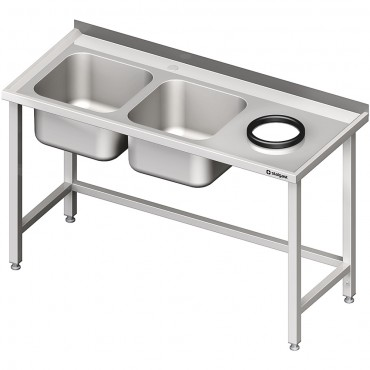 Stół przyścienny ze zlewem bez półki z otworem 1500x600x850 mm, 2-komory po lewej spawany