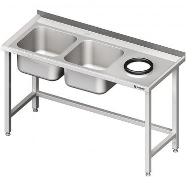 Stół przyścienny ze zlewem bez półki z otworem 1600x700x850 mm, 2-komory po lewej spawany
