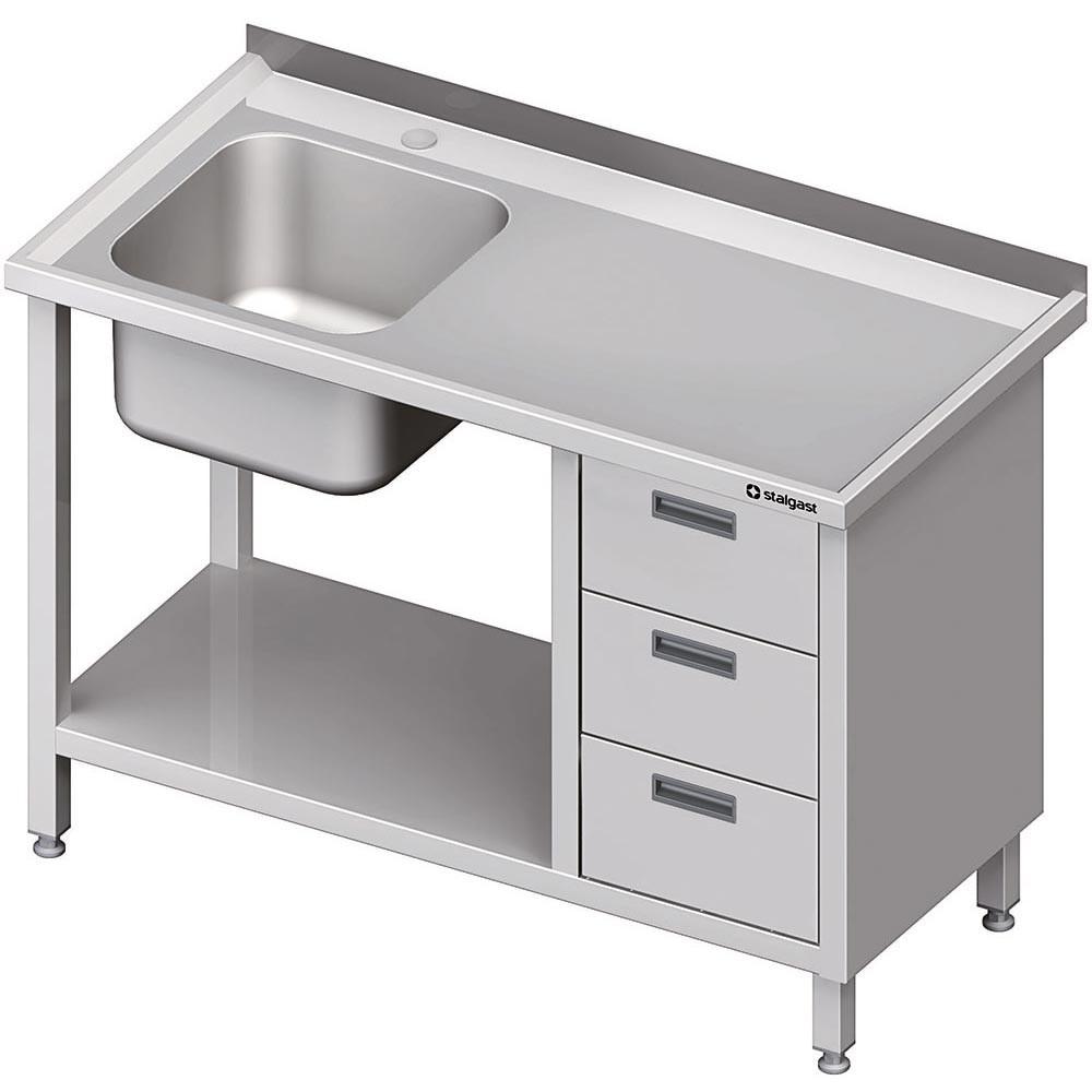 Stół ze zlewem 1-kom.(L), z blokiem trzech szuflad i półką 1700x700x850 mm