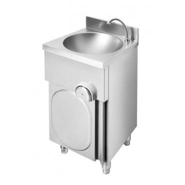 Umywalka wolnostojąca, wykonana z AISI 304, uruchamianie kolanem, 400x400x(h)850 mm