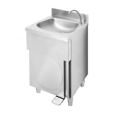 Umywalka wolnostojąca, wykonana z AISI 304, uruchamianie stopą, 500x400x(h)850 mm