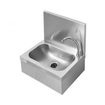 Umywalka bezdotykowa z panelem tylnym (h)300 mm, wykonana z AISI 304, uruchamianie kolanem, 400x315x(h)470 mm