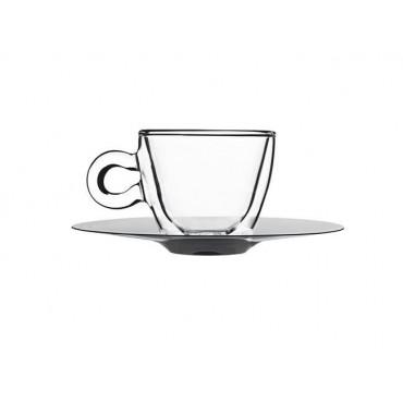 Filiżanka espresso ze spodkiem ze stali nierdzewnej Double Wall 65 ml - zestaw 2 szt.