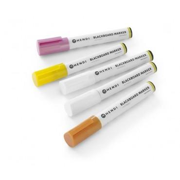 Markery kredowe ścięta końcówka 6mm, żółty, różowy, brązowy, 2 x biały - zestaw 5 szt.